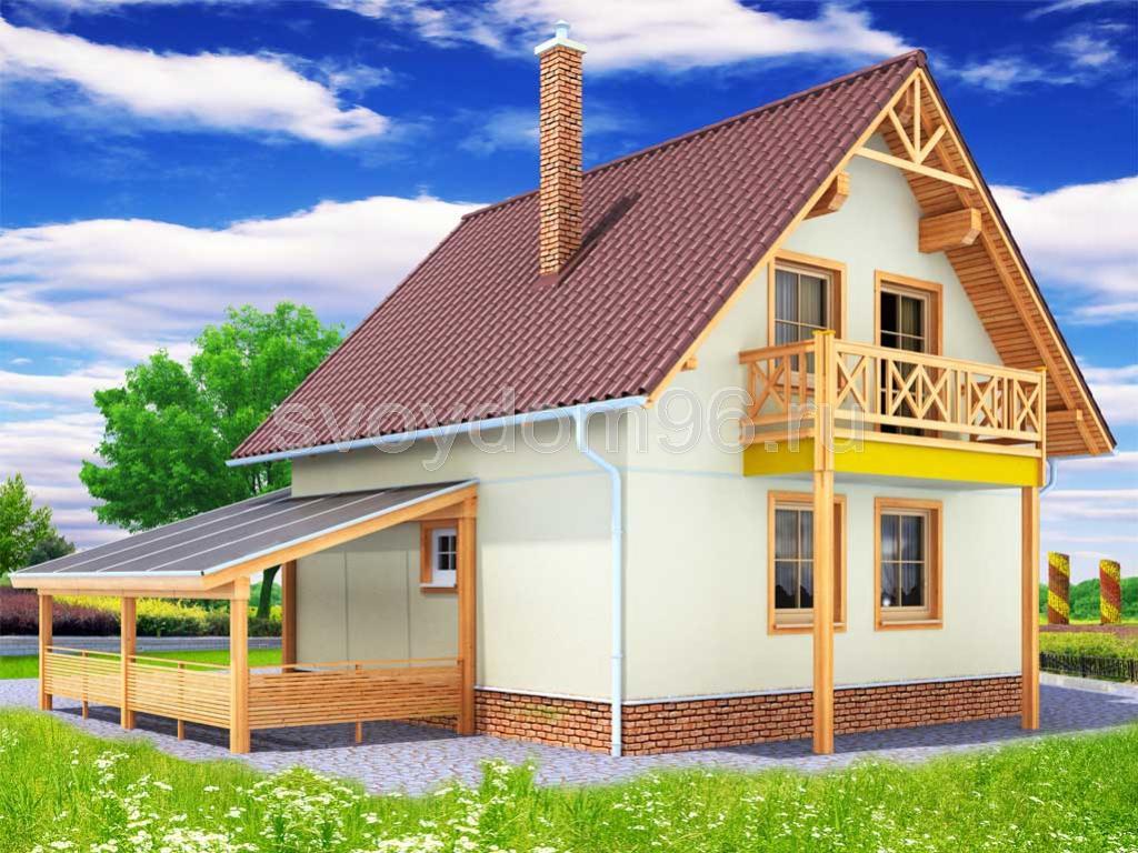 Проект э171 дом каркасный двухэтажный общая площадь 88,3 м2 .